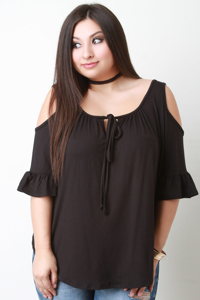 Cold-Shoulder Ruffle Sleeves Self-Tie Top - Rich Girl's Closet - 8