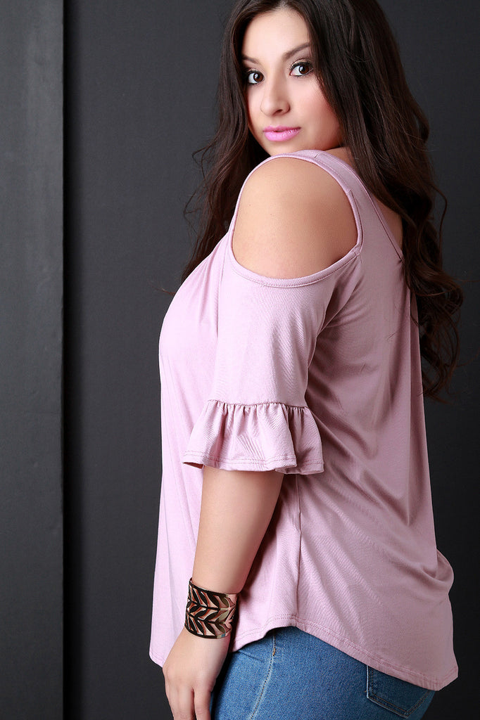 Cold-Shoulder Ruffle Sleeves Self-Tie Top - Rich Girl's Closet - 4