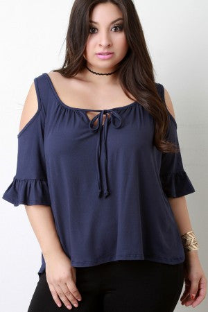 Cold-Shoulder Ruffle Sleeves Self-Tie Top - Rich Girl's Closet - 7