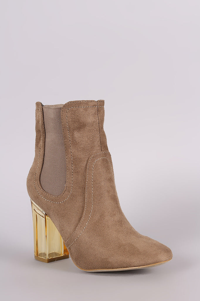 Suede Elastic Gore Chunky Lucite Heeled Ankle Boots - Rich Girl's Closet - 2