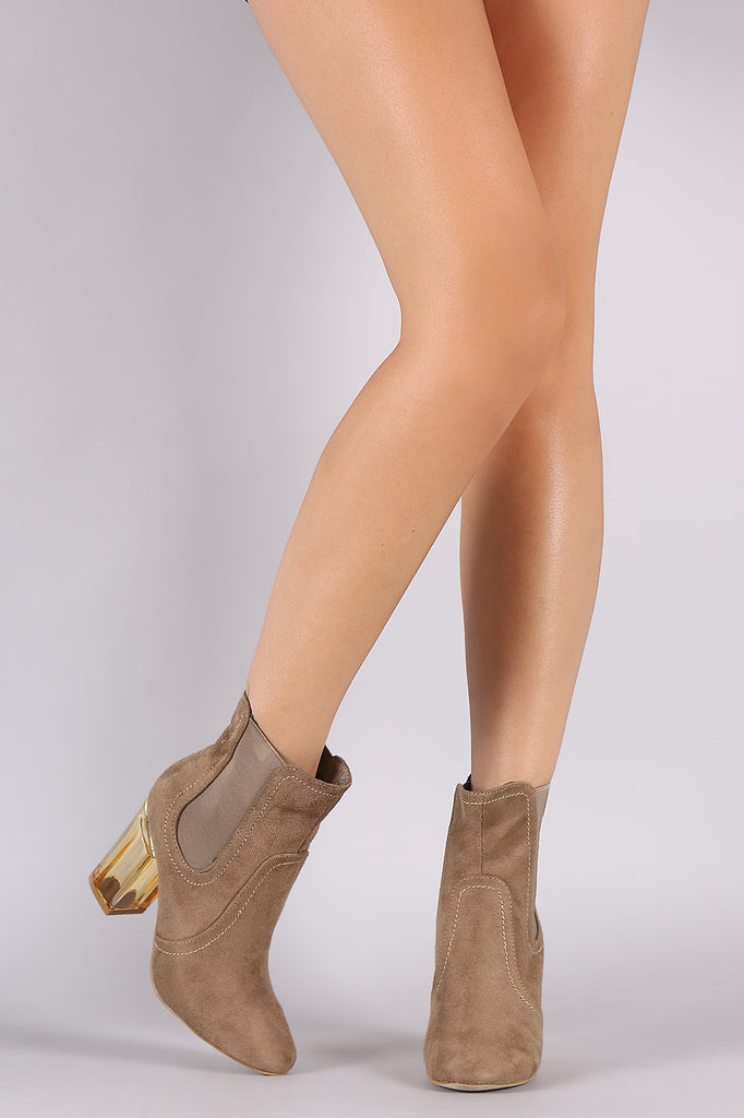Suede Elastic Gore Chunky Lucite Heeled Ankle Boots - Rich Girl's Closet - 3