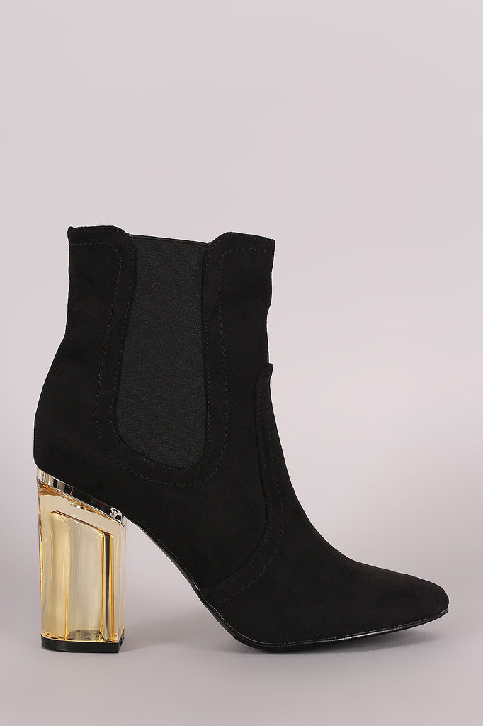 Suede Elastic Gore Chunky Lucite Heeled Ankle Boots - Rich Girl's Closet - 9