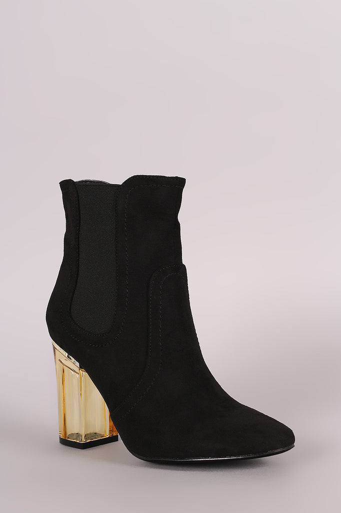 Suede Elastic Gore Chunky Lucite Heeled Ankle Boots - Rich Girl's Closet - 5