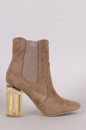 Suede Elastic Gore Chunky Lucite Heeled Ankle Boots - Rich Girl's Closet - 7