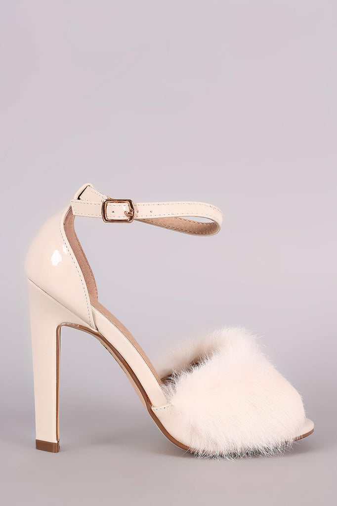 Fluffy Fur Band Ankle Strap Thick Heel - Rich Girl's Closet - 7