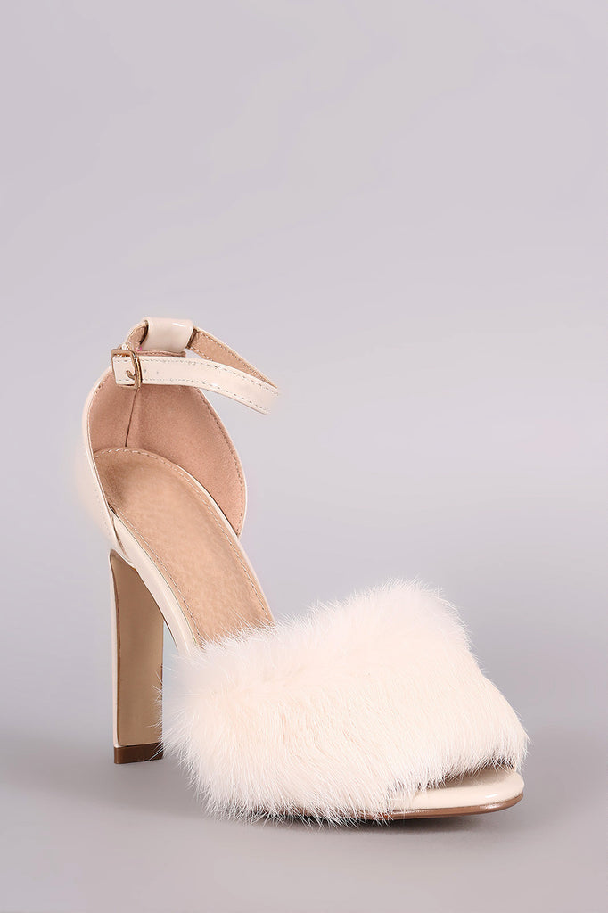 Fluffy Fur Band Ankle Strap Thick Heel - Rich Girl's Closet - 8