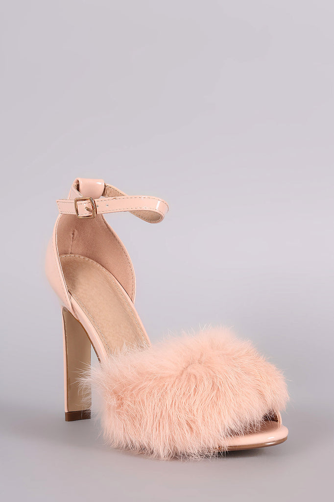Fluffy Fur Band Ankle Strap Thick Heel - Rich Girl's Closet - 2