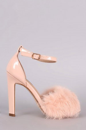 Fluffy Fur Band Ankle Strap Thick Heel - Rich Girl's Closet - 10