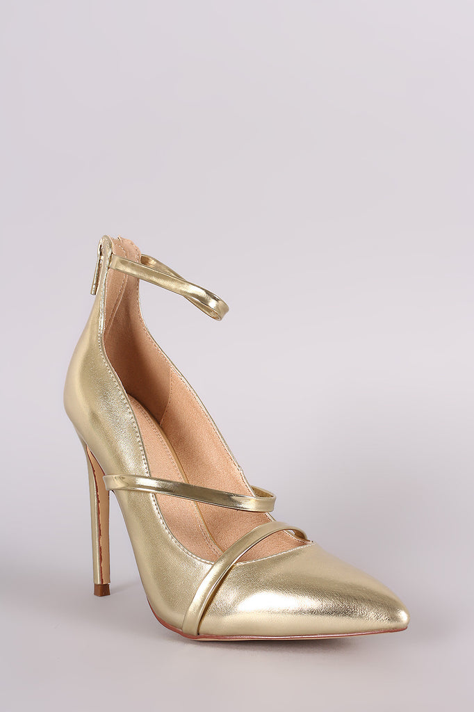 Liliana Metallic Trio Straps Stiletto Pump - Rich Girl's Closet - 5