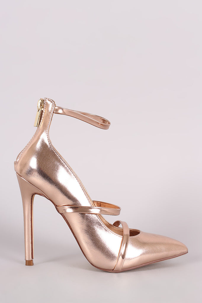 Liliana Metallic Trio Straps Stiletto Pump - Rich Girl's Closet - 11