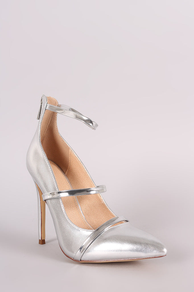 Liliana Metallic Trio Straps Stiletto Pump - Rich Girl's Closet - 8
