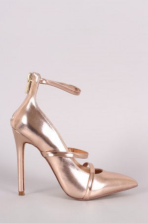 Liliana Metallic Trio Straps Stiletto Pump - Rich Girl's Closet - 10