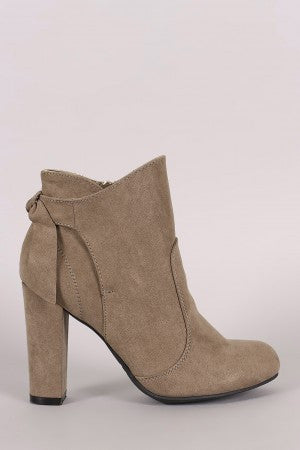 Bamboo Suede Knotted-Tie Chunky Heeled Booties - Rich Girl's Closet - 7