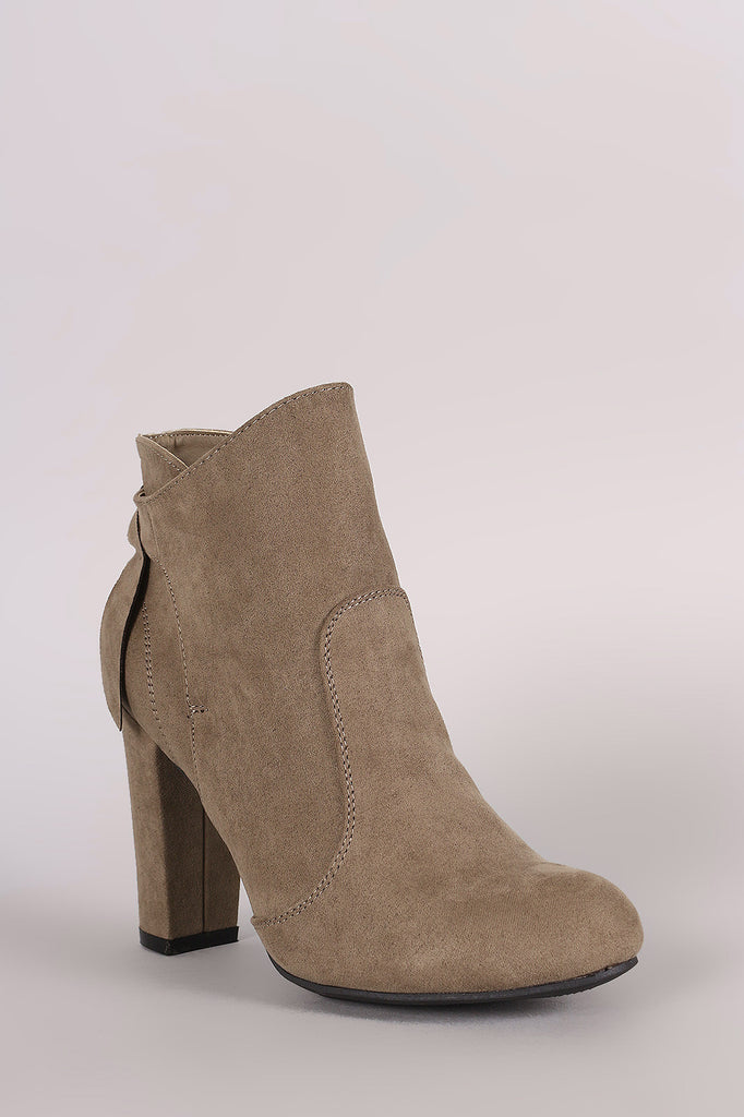 Bamboo Suede Knotted-Tie Chunky Heeled Booties - Rich Girl's Closet - 10