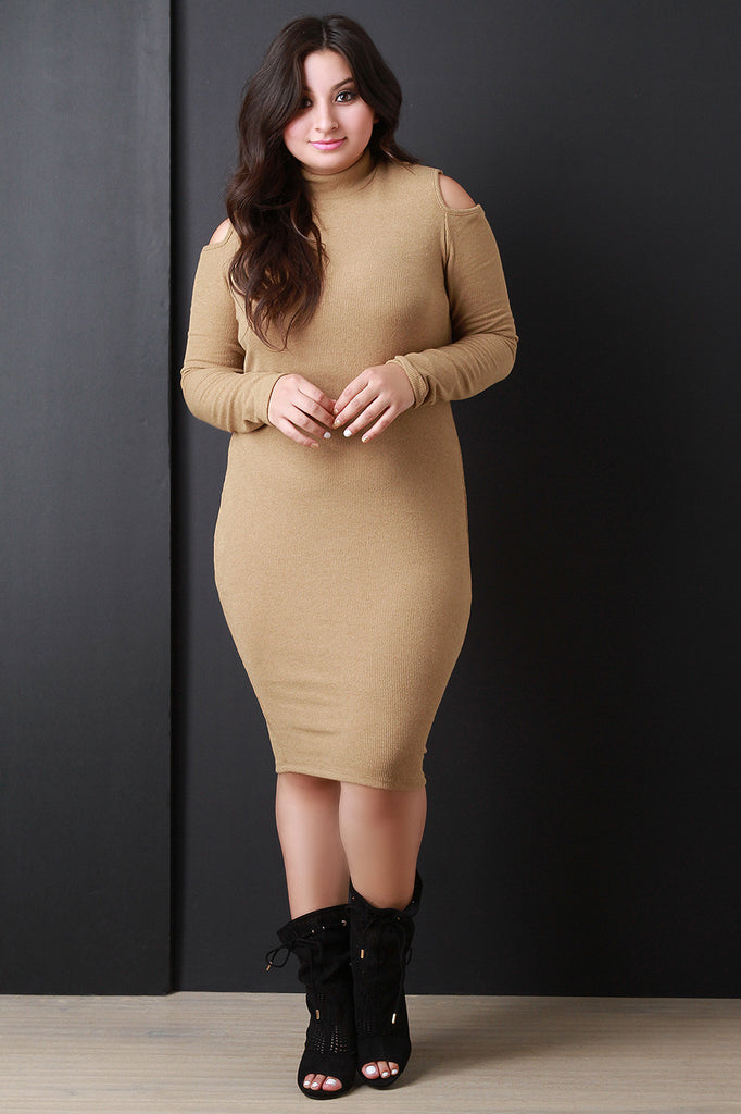Ribbed Knit Cold Shoulder Sweater Dress - Rich Girl's Closet - 5