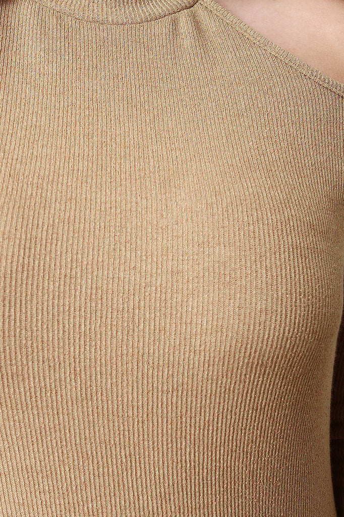 Ribbed Knit Cutaway Cold Shoulder Round Hem Dress - Rich Girl's Closet - 19