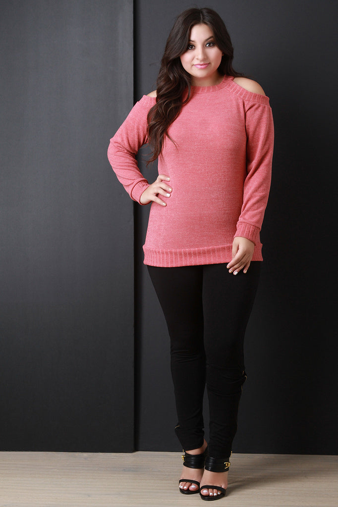 Cold Shoulder Rib Knit Trim Sweater - Rich Girl's Closet - 3