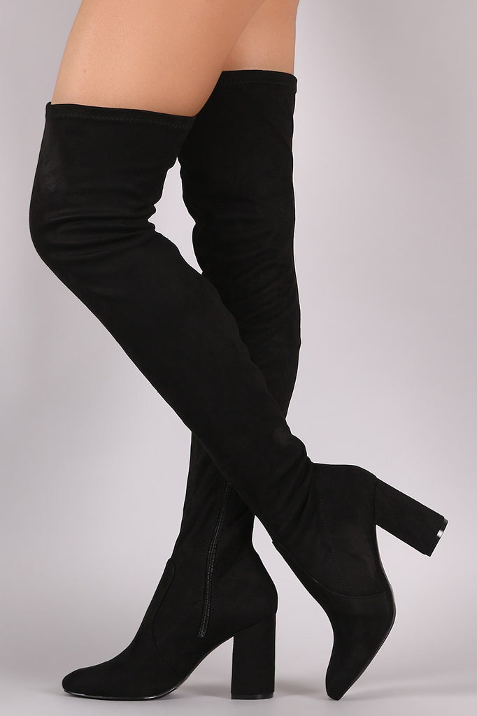 Suede Chunky Block Heeled Over-The-Knee Boots - Rich Girl's Closet - 7