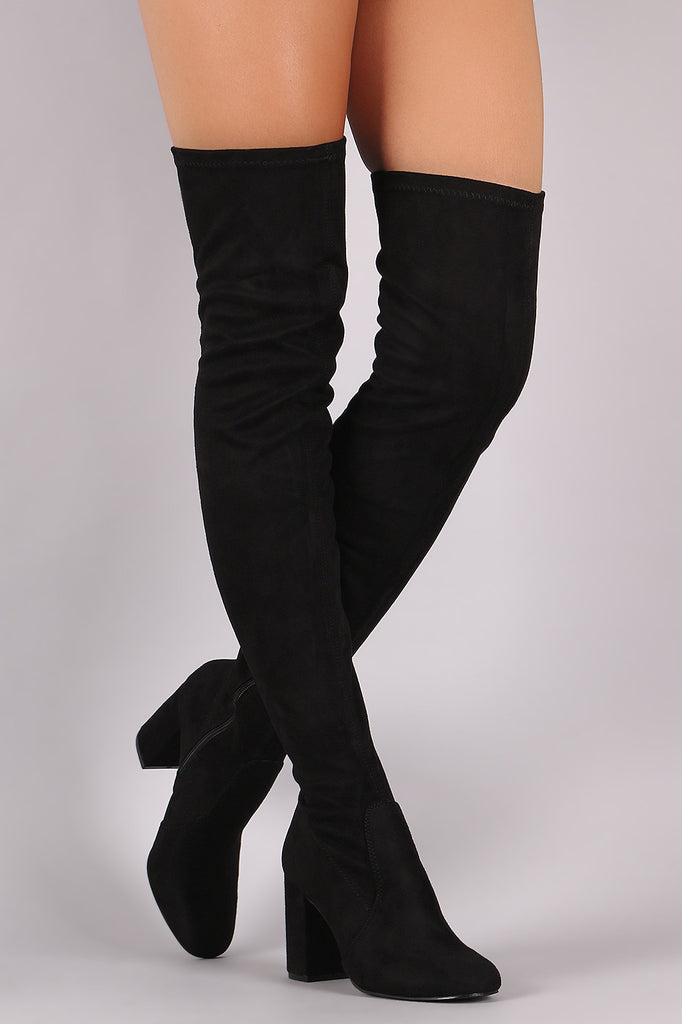 Suede Chunky Block Heeled Over-The-Knee Boots - Rich Girl's Closet - 8