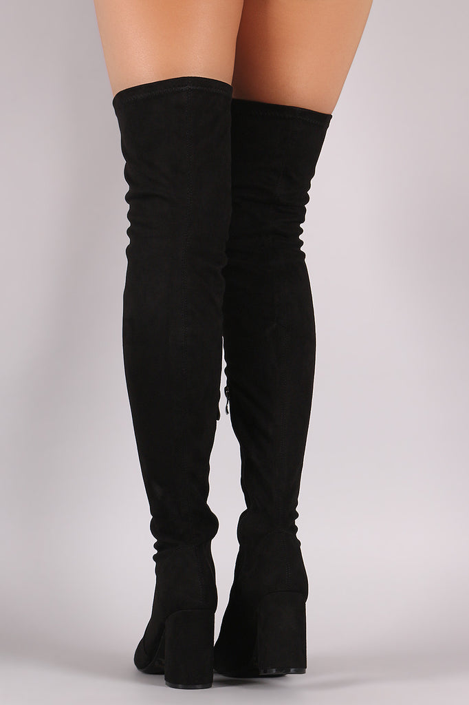 Suede Chunky Block Heeled Over-The-Knee Boots - Rich Girl's Closet - 9