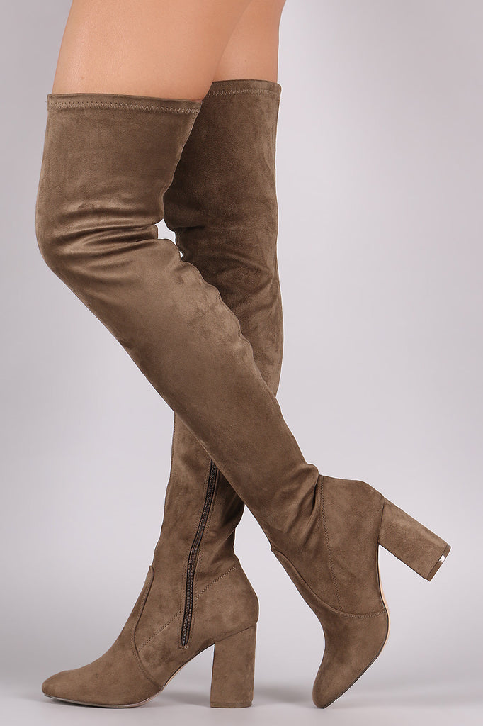 Suede Chunky Block Heeled Over-The-Knee Boots - Rich Girl's Closet - 4