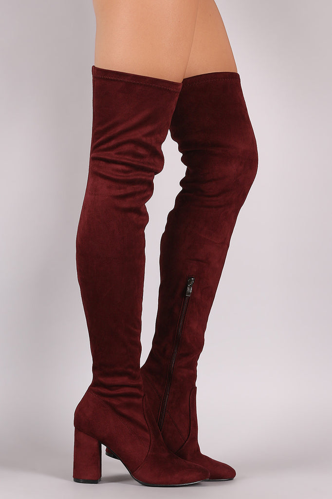 Suede Chunky Block Heeled Over-The-Knee Boots - Rich Girl's Closet - 1