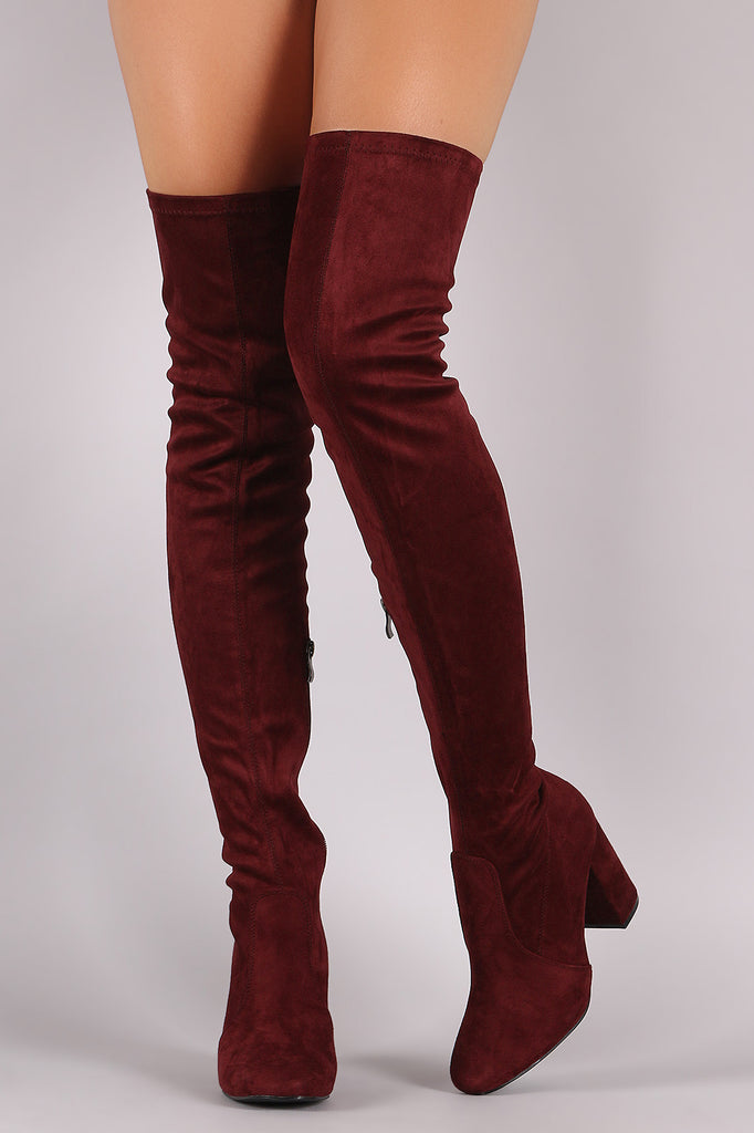 Suede Chunky Block Heeled Over-The-Knee Boots - Rich Girl's Closet - 2