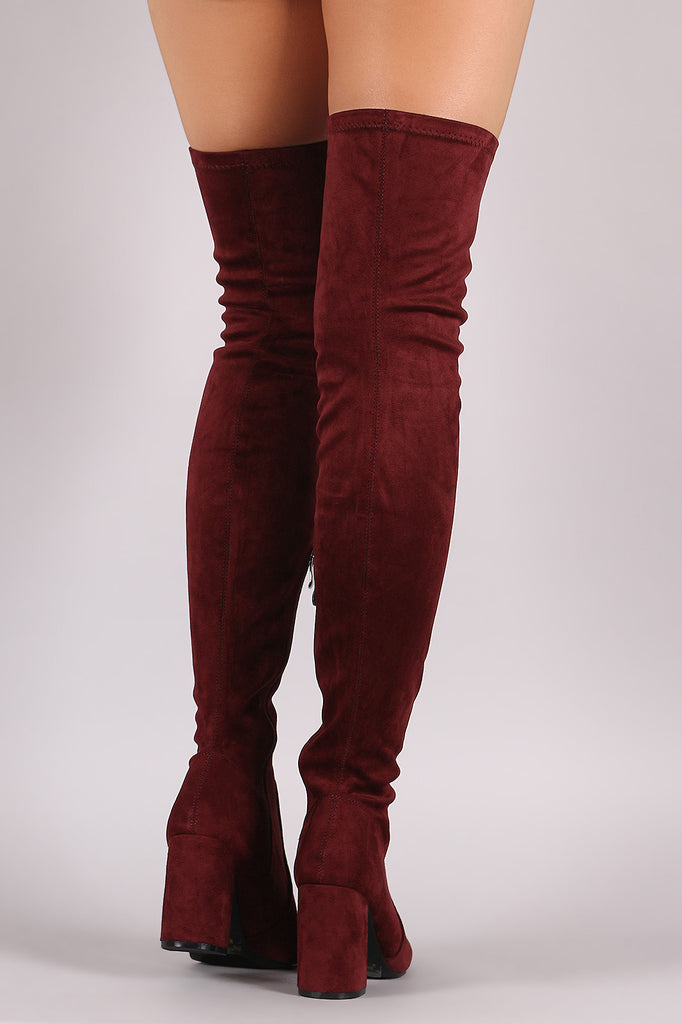 Suede Chunky Block Heeled Over-The-Knee Boots - Rich Girl's Closet - 13