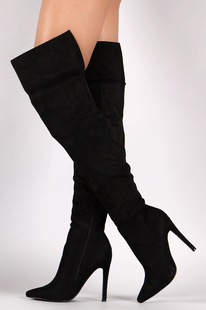 Suede Pointy Toe Cuff Over-The-Knee Stiletto Boots - Rich Girl's Closet - 12