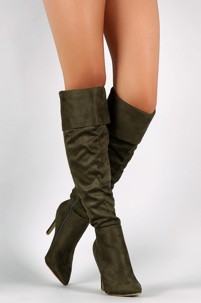 Suede Pointy Toe Cuff Over-The-Knee Stiletto Boots - Rich Girl's Closet - 17