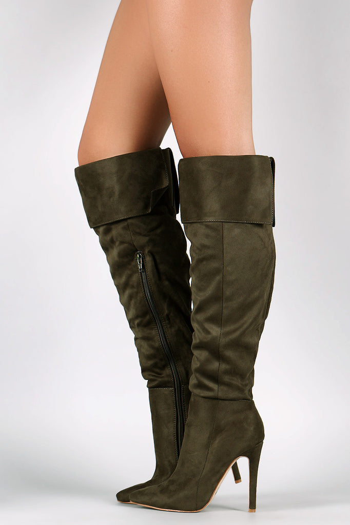 Suede Pointy Toe Cuff Over-The-Knee Stiletto Boots - Rich Girl's Closet - 6
