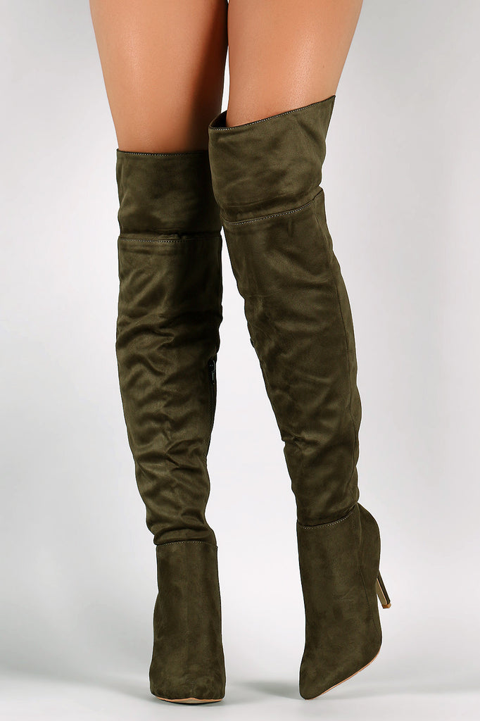 Suede Pointy Toe Cuff Over-The-Knee Stiletto Boots - Rich Girl's Closet - 7