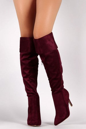 Suede Pointy Toe Cuff Over-The-Knee Stiletto Boots - Rich Girl's Closet - 13