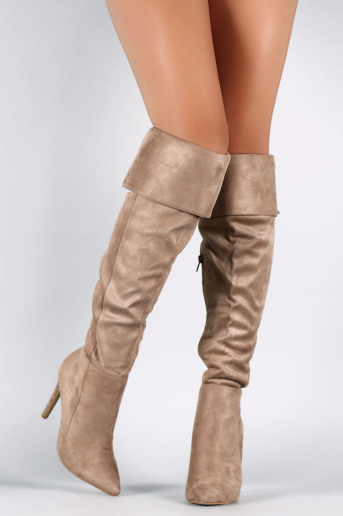 Suede Pointy Toe Cuff Over-The-Knee Stiletto Boots - Rich Girl's Closet - 8