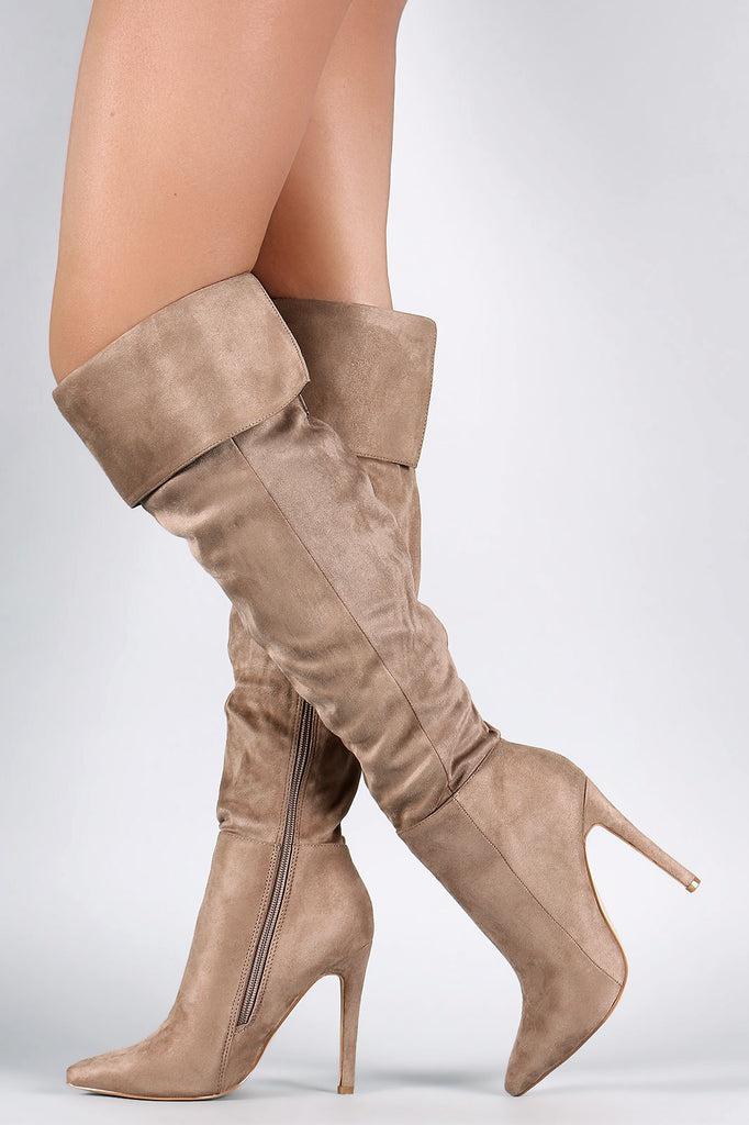 Suede Pointy Toe Cuff Over-The-Knee Stiletto Boots - Rich Girl's Closet - 9