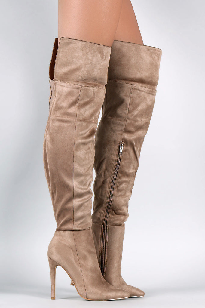 Suede Pointy Toe Cuff Over-The-Knee Stiletto Boots - Rich Girl's Closet - 10