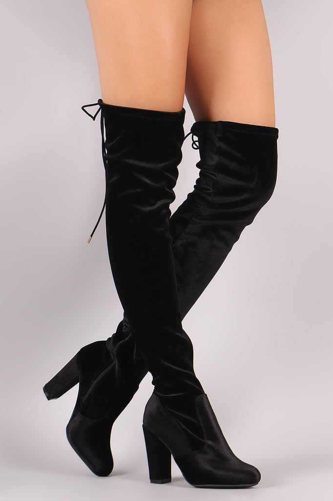 Bamboo Velvet Fitted Over-The-Knee Chunky Heel Boots - Rich Girl's Closet - 8