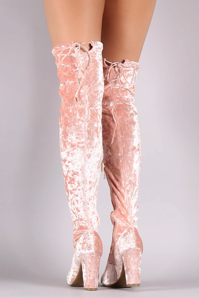 Bamboo Velvet Fitted Over-The-Knee Chunky Heel Boots - Rich Girl's Closet - 7