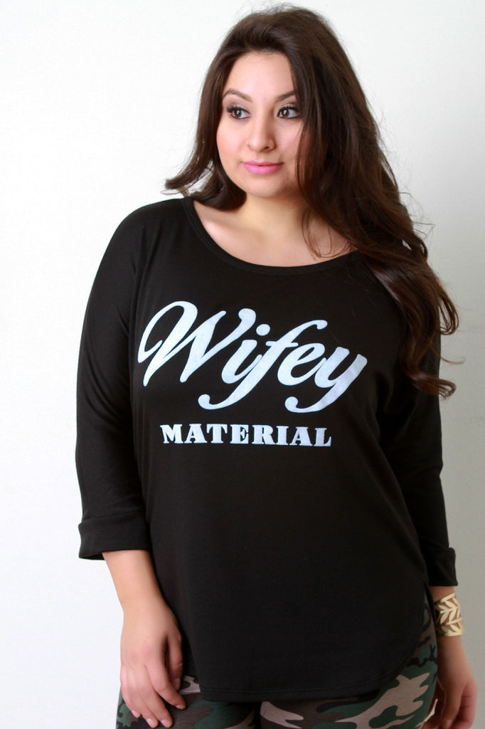 Wifey Material Graphic Quarter Sleeves Top - Rich Girl's Closet - 1