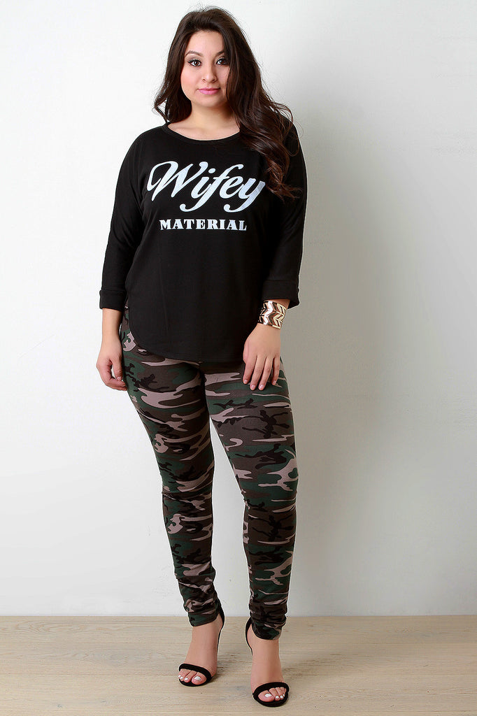 Wifey Material Graphic Quarter Sleeves Top - Rich Girl's Closet - 10