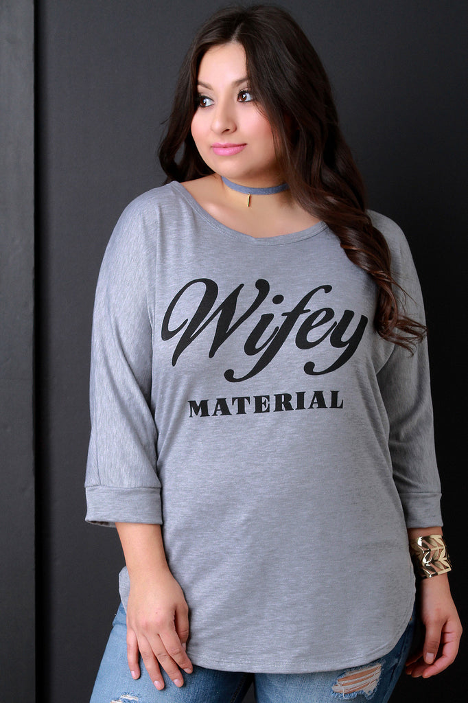 Wifey Material Graphic Quarter Sleeves Top - Rich Girl's Closet - 4