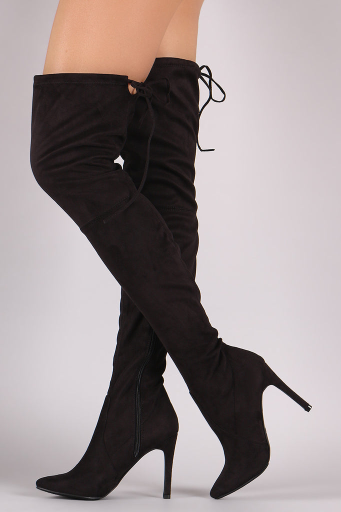Breckelle Suede Drawstring-Tie Pointy Toe Stiletto Boots - Rich Girl's Closet - 17
