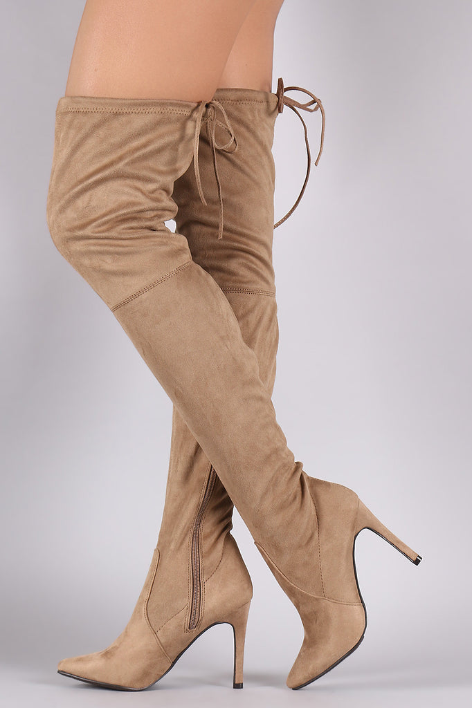 Breckelle Suede Drawstring-Tie Pointy Toe Stiletto Boots - Rich Girl's Closet - 8