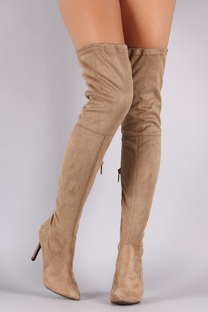 Breckelle Suede Drawstring-Tie Pointy Toe Stiletto Boots - Rich Girl's Closet - 9