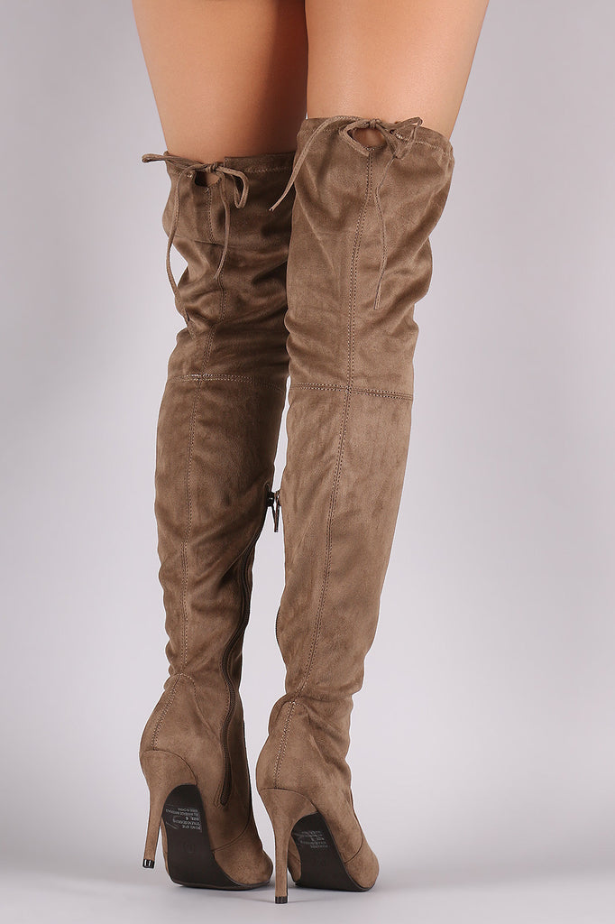 Breckelle Suede Drawstring-Tie Pointy Toe Stiletto Boots - Rich Girl's Closet - 13