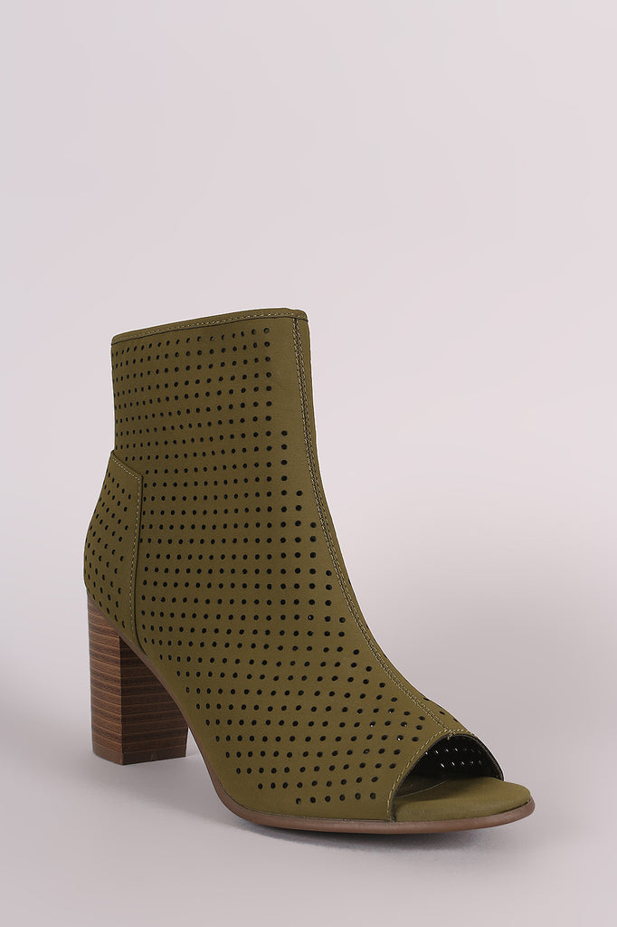 Breckelle Perforated Nubuck Chunky Heeled Booties - Rich Girl's Closet - 2