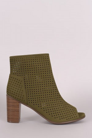Breckelle Perforated Nubuck Chunky Heeled Booties - Rich Girl's Closet - 10
