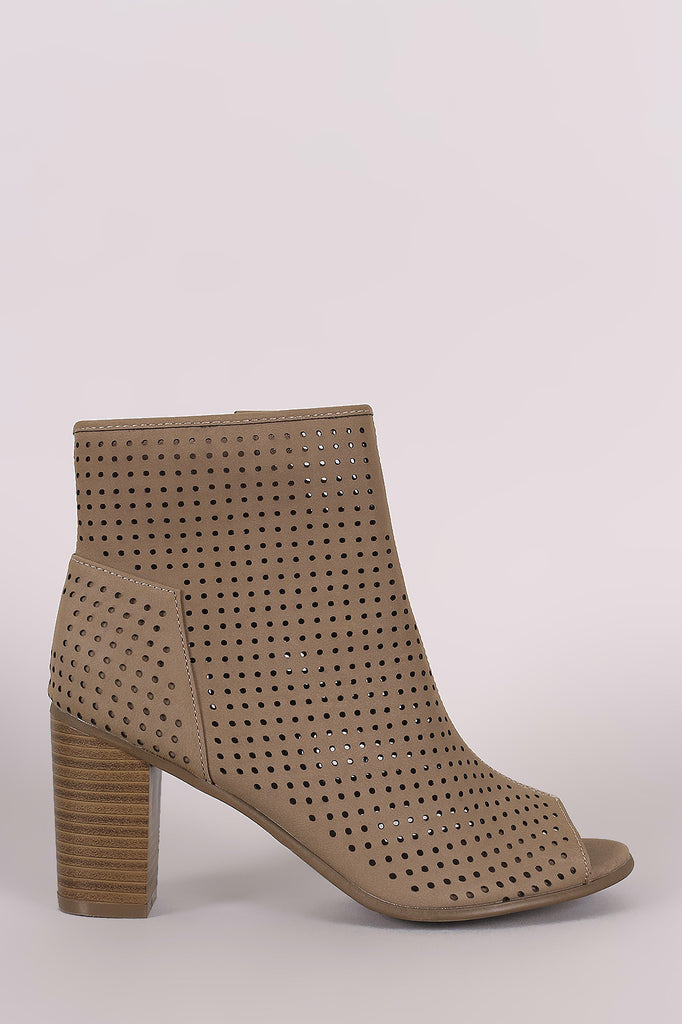 Breckelle Perforated Nubuck Chunky Heeled Booties - Rich Girl's Closet - 11