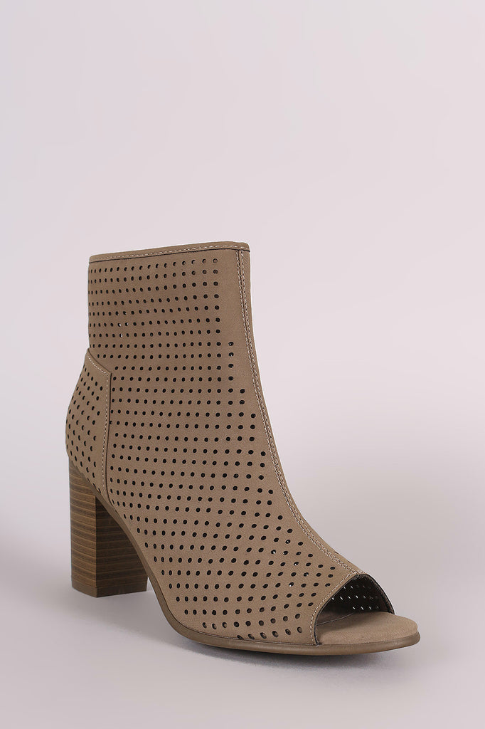 Breckelle Perforated Nubuck Chunky Heeled Booties - Rich Girl's Closet - 5