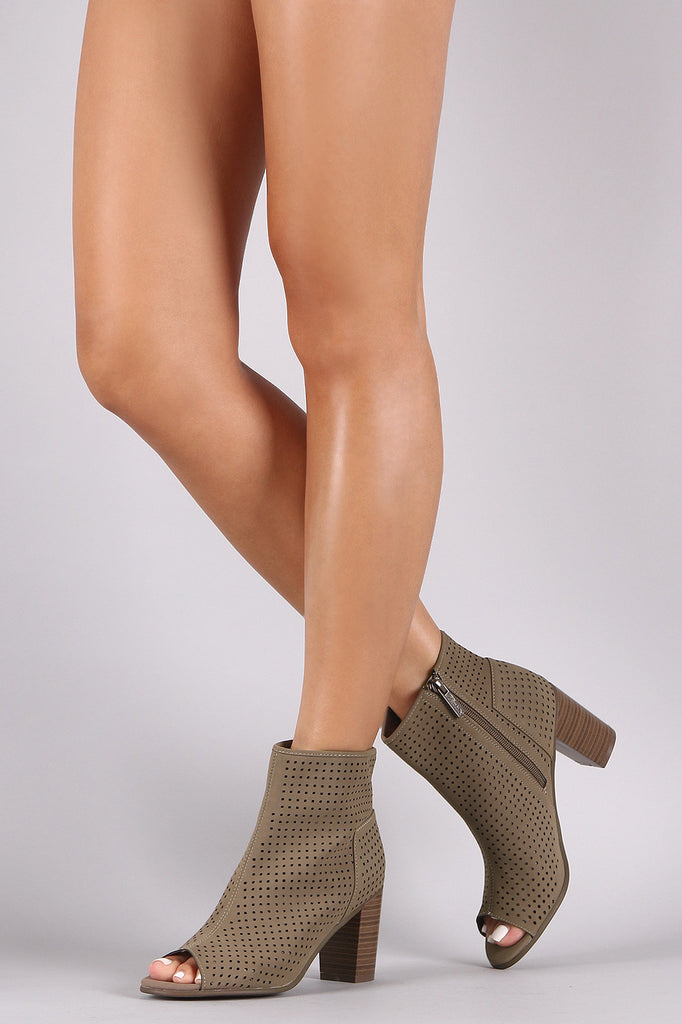 Breckelle Perforated Nubuck Chunky Heeled Booties - Rich Girl's Closet - 6